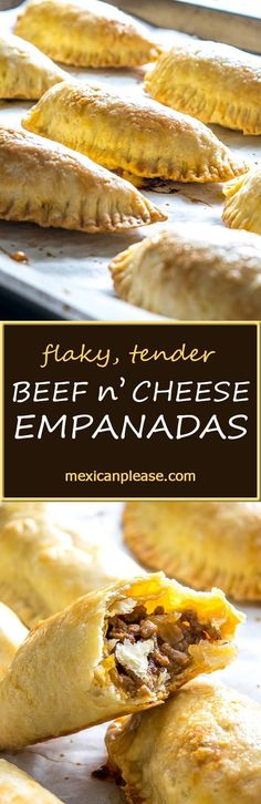 Flaky, tender dough make these empanadas a recipe worth repeating.  We're using a delicious spicy beef mixture to kick them up a notch.  So good!  mexicanplease.com #mexicanfoodrecipes