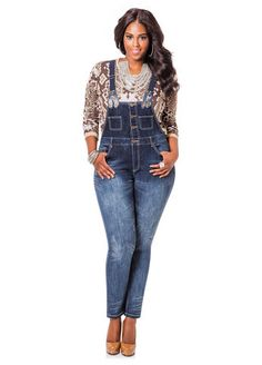 Detachable Suspender Overall - Ashley Stewart Curvy Fashion, Plus Size Fashion, Plus Size Dresses, Plus Size Outfits, Plus Size Skinny Jeans, Denim Romper, Curvy Fit, Sexy Curves, High Waist Jeans