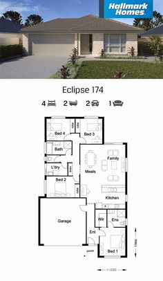 Full of great features, the Eclipse 174 allows you to enjoy the luxury of a master suite away from the bustle of the rest of the home. The remaining three bedrooms flow off a large open kitchen, meals and living area. My House Plans, 4 Bedroom House Plans, Family House Plans, Modern House Plans, Flat Roof House Designs, Single Storey House Plans, Affordable House Plans, Hallmark Homes, Duplex House Design