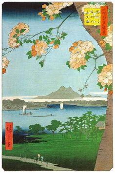SUIJIN SHRINE AND MASSAKI ON THE SUMIDA RIVER  HIROSHIGE UTAGAWA  1797-1858  Last of Edo Period
