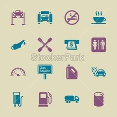 Gas Station Icons - Color Series | EPS10 | Vector | StockerPark