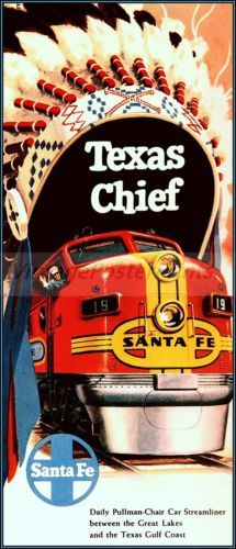 Santa Fe Railroad 1957 Texas Chief Vintage Poster Art http://stores.ebay.com/Vintage-Poster-Prints-and-more