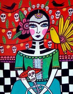 Mexican Folk Art - Frida Kahlo Art - Day of the Dead Art - Mexican Folk Art Print Poster of Painting - Sugar Skulls - Wedding Gifts