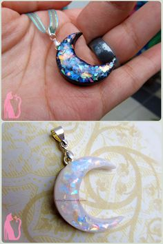 Black and White Faux Opal Moons Polymer Clay by Talty.deviantart.com on @deviantART