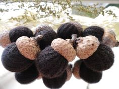 7 Dark Chocolate CASHMERE ACORNS upcycled by CustomWarmWoolies, $11.00
