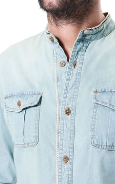 ZARA MAO COLLAR DENIM SHIRT