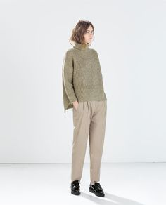ZARA - WOMAN - KNIT SQUARE SWEATER. Pretty color for you. Boxy shape, so best to pair with skinny jeans.