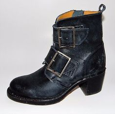 $377 FRYE 'Sabrina' Double Buckle Ankle Boots, Vintage Montana Stonewash, 6.5