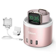 Apple Watch Charging Stand, Oittm[3 in 1 Bracket Charging Dock]4-Port USB Charging Station with Phone Holder Charging Dock for iPhone 7, 7 Plus, Apple Watch Series 2, Series 1, Nike  (Rose Gold) ** More info could be found at the image url.