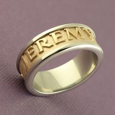Name Ring in two-tone gold