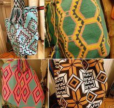 Crocheted bags (aka mochilas) by the Wayuu people in Colombia & Venezuela.