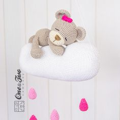Sweet Dreams Teddy Bear Mobile crochet pattern by One and two company Diy Teddy Bear, Knitted Teddy Bear, Teddy Bear Clothes, Crochet Teddy Bear Pattern, Crochet Patterns Amigurumi, Crochet Toys, Amigurumi Toys, Free Crochet, Knitting Patterns