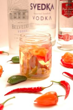 habanero vodka close bottles peppers. Hello yummy bloody marys