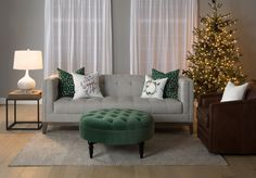 we <3 the holidays. Check out our Dessa Sofa, Rush Ottoman and our selection of throw pillows. #holidays #christmas #augusthaven