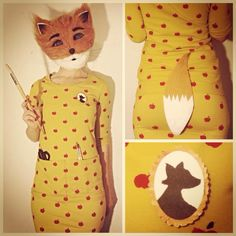 Mrs Fox costume from the Fantastic Mr Fox. I am going as her for world book day Halloween Books, Fall Halloween, Halloween Party, Halloween Ideas, Up Costumes, Halloween Costumes, Costume Ideas, Fantastic Mr Fox Costume, Roald Dahl Costumes