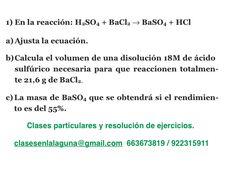 Ejercicio 1. Tema: Rendimiento (reacciones químicas)