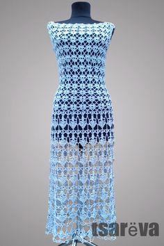 Купить Вязаное ажурное платье Aquarius. Крючок, хлопок, вискоза в интернет магазине на Ярмарке Мастеров