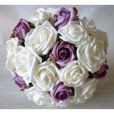 Artificial Wedding Bouquets - Lilac Ivory Brides Bouquet - Wedding Flowers Posie
