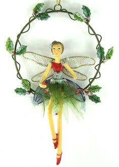 Gisela Graham Woodland Fairy in Holly Ring Christmas Fairy, Christmas Love, Winter Christmas, Christmas Crafts, Christmas Ornaments, Woodland Fairy, Forest Fairy, Tinsel Tree, Gisela Graham