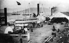 The old Broadway Wharf, now covered by landfill, was one of the colorful wharfs of San Francisco in the 1800's