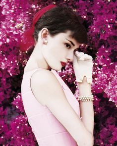 Audrey Hepburn...wow, amazing fuchsia colored Audrey pic!!