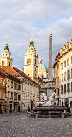 The Robba fountain in Mestni Trg - Ljubljana, Slovenia