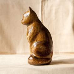 Marvelous Wooden Cat Statue, Wooden Cat Figurine, Wood Carving, Hand Carved