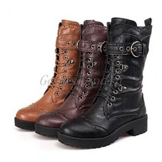 Women's Punk Low Heel Lace Up Motorcycle Military Combat Mid Calf Boots Shoes E8 #Unbranded #FashionMidCalf