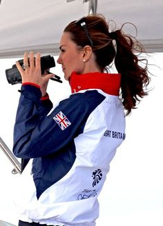 catherine, the duchess of cambridge, in watches the sailing competition during the 2012 london summer olympic games.