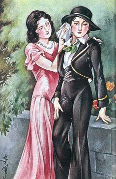 Kashou Takabatake Lesbian Art, Gay Art, Vintage Vanity, Vintage Art, Grafic Art, Japanese Literature, Kuniyoshi, Japanese Illustration, Lolita Fashion