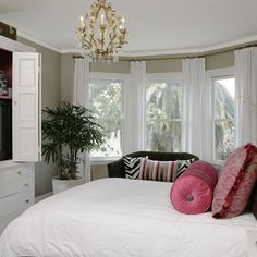 Chic Bay Window Curtain Rods vogue San Francisco Traditional Bedroom Decorating ideas with Bedroom pink zebra Bay Window Design, Window Curtain Designs, Bay Window Curtain Rod, Curtain Rods, Bay Window Bedroom, Bedroom Windows, Master Bedroom, Bay Windows, Master Suite