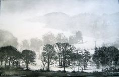Cartmel in February - Windermere by Norman Ackroyd Ra exhibiting artist at North House Gallery Manningtree, Essex Norman Ackroyd, Landscape Drawings, Landscape Paintings, Art Drawings, Linocut Prints, Art Prints, Dark Tree, Etching Prints, Watercolor Painting Techniques
