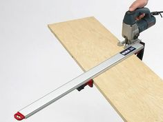 Woodworking Equipment Making a perfectly straight freehand cut with a jigsaw is difficult—the saw will… Woodworking Jig Plans, Woodworking Jigsaw, Woodworking Courses, Antique Woodworking Tools, Woodworking School, Woodworking Equipment, Learn Woodworking, Woodworking Projects, Woodworking Store