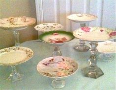 vintage plates and candlesticks by SweetCadillac