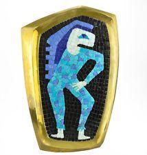 Vintage Mexicana Salvador Teran Vidrio Azulejo Mosaico De Bronce De Pared De Bandeja De Taxco