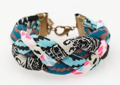 Hand Printed 'Insanity' Braided Cuff Bracelet. $18.00, via Etsy. #inspiration