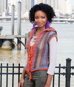 Best in Hoodie Vest - free crochet pattern by Double Stitch Twins for Red Heart.