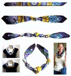 Conseils techniques pour plier un foulard carré de soie naturelle, un foulard en soie de forme carrée pour réaliser de jolis noeuds carrés.