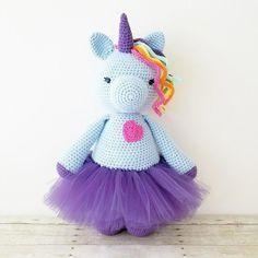 Crochet Unicorn Doll Tutu Ballerina Toy Stuffed Animal Rainbow Handmade Toddler Girl Kid and Baby Nursery Room Decor Unicorn Doll, Crochet Unicorn, Crochet For Kids, Crochet Toys, Crochet Animals, Crochet Afghans, Plush Animals, Pet Toys, Baby Toys