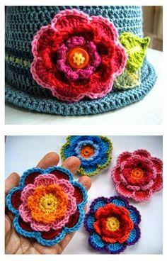 Como tecer etapa flor de crochê - Passo a Passo crochet flower step by step