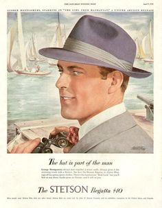 Vintage Advertising Magazine AD Stetson Hat Regatta sailing 1949 via Etsy