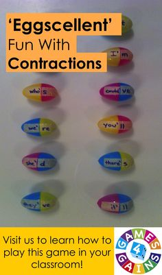 Looking for a low-prep, easy-to-use center for practicing contractions?  Come visit us at Games4Gains.com to see how we've re-purposed these plastic eggs to make this fun contractions game!
