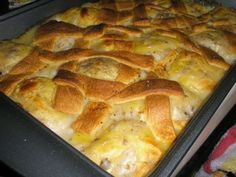 Jessica Simpson Chicken Dumplin Casserole! --3 cans Crescent Rolls--   4 chicken breast, cooked and cubed--    1 can cream of chicken soup--    1 can cream of mushroom soup--    1 cup chicken broth--  You know it's easy if Jessica can do it!