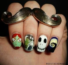 Cute Nightmare Before Christmas Nail Art For Halloween - Jack Nightmare Before Christmas Nail Art