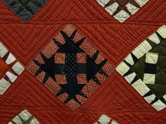 "Detail ~ Primitive spikes on classic pattern   19th c. N.Y.S. quilt ""Devils Claw"". 66"" x 72"""