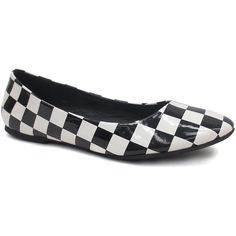 Dollhouse Black & White Check Halo Ballet Flat ($4.99) ❤ liked on Polyvore featuring shoes, flats, ballerina pumps, ballet shoes, ballet shoes flats, print flats and ballet pumps