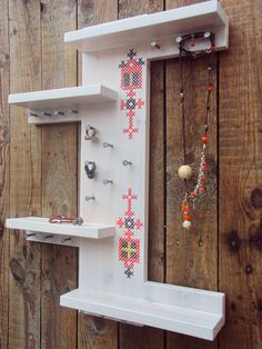Scandinavian Design Jewelry Holder Organizer Cross Stitch Decor
