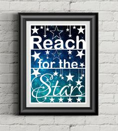 Reach For The Stars, Paper Cutting Art, Nursery Quote, Baby Shower Gift, Watercolor Artwork, Inspirational Art, Stars Quote, Encouraging Art - pinned by pin4etsy.com