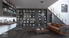 Salon Komandor / przeszklone gabloty na książki / regały / półki / szkło SATI bazaltowy / szkło ornamentowe SOFT czarny