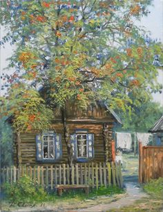 House Painting, Painting & Drawing, Doodle Art Designs, Russian Painting, Country Scenes, Art For Art Sake, Pictures To Paint, Beautiful Paintings, Art And Architecture
